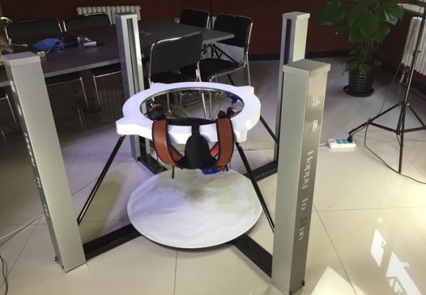 Get a jump on your virtual foes with the PAO omni-directional treadmill