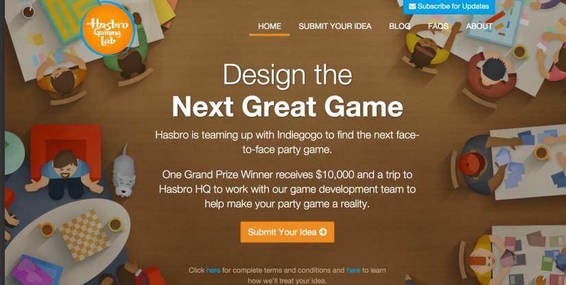 Hasbro, Indiegogo team for game design contest